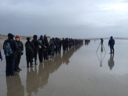 Lining up for Hamish Fulton's walk, day 2